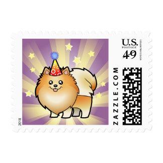 Cumpleaños Pomeranian Estampilla