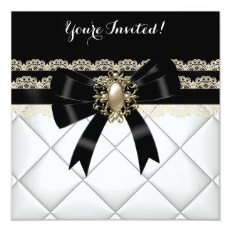 Cumpleaños poner crema blanco negro elegante 2 del invitación personalizada