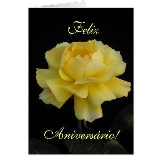 Cumpleaños portugués: ¡Seu Aniversario de Rosa Tarjeta De Felicitación