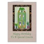Cumpleaños, primo, aún vida con el gabinete tarjeta de felicitación