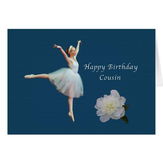 Cumpleaños, primo, bailarina y tarjeta blanca del