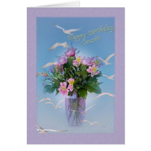 Cumpleaños, primo, flores y pájaros tarjeta