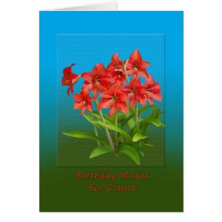 Cumpleaños, primo, lirios de día rojos tarjeta de felicitación