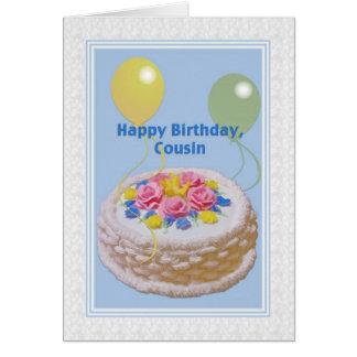 Cumpleaños, primo, torta y globos tarjeta de felicitación