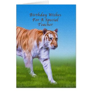 Cumpleaños, profesor, el caminar del tigre tarjeta de felicitación