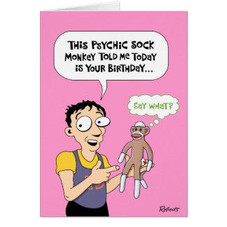 Cumpleaños psíquico divertido del mono del tarjeta de felicitación