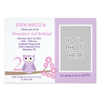 """Cumpleaños púrpura 5x7 del *PHOTO* del búho de Invitación 5"""" X 7"""""""