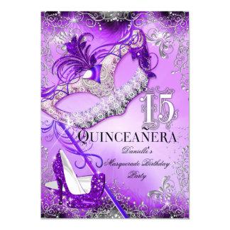 """Cumpleaños púrpura de Quinceanera de la mascarada Invitación 5"""" X 7"""""""
