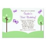 Cumpleaños púrpura del chica de los árboles de la invitación 12,7 x 17,8 cm