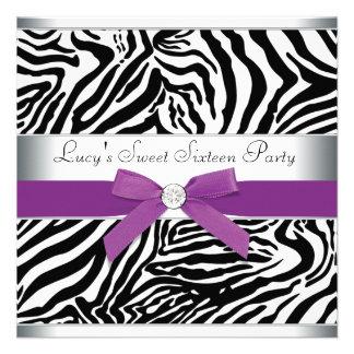 Cumpleaños púrpura del dulce 16 de la cebra del ar anuncios personalizados