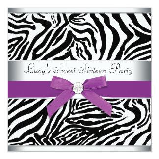 Cumpleaños púrpura del dulce 16 de la cebra del anuncios personalizados
