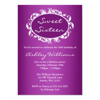 """Cumpleaños púrpura del dulce 16 del marco del invitación 5"""" x 7"""""""