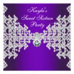 Cumpleaños púrpura del dulce dieciséis de los diam invitacion personalizada