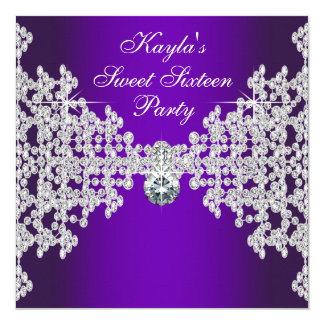 """Cumpleaños púrpura del dulce dieciséis de los invitación 5.25"""" x 5.25"""""""