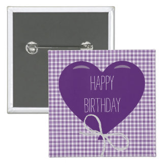 Cumpleaños púrpura del globo y de la guinga pins