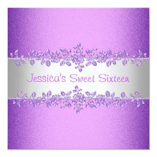 Cumpleaños púrpura elegante del dulce dieciséis de invitación 13,3 cm x 13,3cm