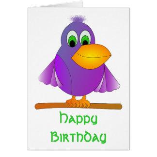 Cumpleaños púrpura gallardo del pájaro tarjeton