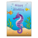 Cumpleaños púrpura subacuático del Seahorse Tarjeta De Felicitación