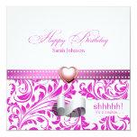 Cumpleaños púrpura y blanco elegante de la invitación 13,3 cm x 13,3cm