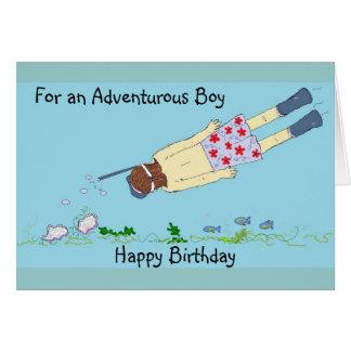 Cumpleaños que bucea tarjeta de felicitación