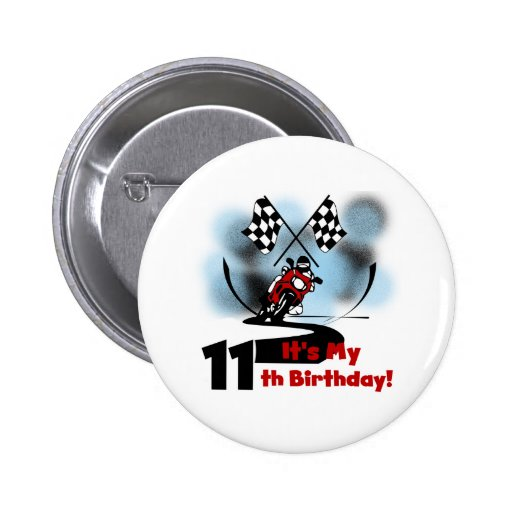 Cumpleaños que compite con de la motocicleta 11mo pin redondo de 2 pulgadas