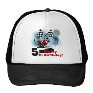 Cumpleaños que compite con de la motocicleta 5to gorros