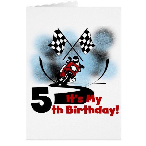 Cumpleaños que compite con de la motocicleta 5to tarjetas