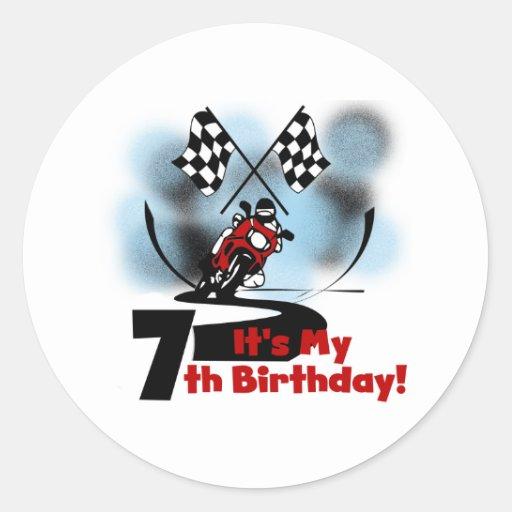 Cumpleaños que compite con de la motocicleta 7mo pegatina redonda