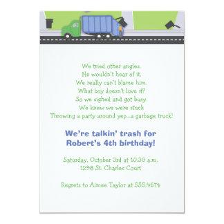 """Cumpleaños que habla de la basura invitación 5"""" x 7"""""""