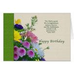 Cumpleaños, ramo floral, religioso tarjeton