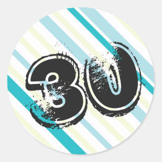 cumpleaños rayado Bday de 30 años trigésimo Pegatina Redonda