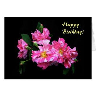 Cumpleaños rayado de los rosas tarjeta de felicitación