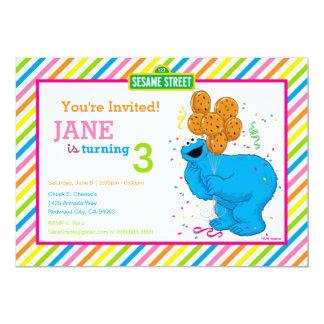 """Cumpleaños rayado del monstruo de la galleta invitación 5"""" x 7"""""""