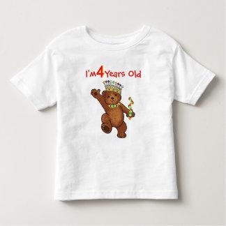 Cumpleaños real año del oso 4 playera de bebé