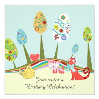 """Cumpleaños retro colorido de los árboles de los invitación 5.25"""" x 5.25"""""""