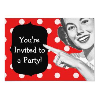 Cumpleaños retro de la mujer punteaguda invitación 8,9 x 12,7 cm
