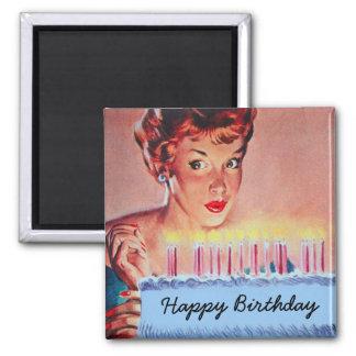 Cumpleaños retro de los años 50 imán de frigorífico