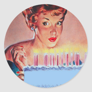 Cumpleaños retro de los años 50 pegatina redonda