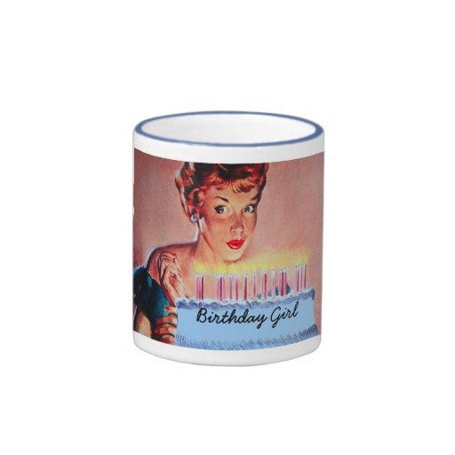 Cumpleaños retro de los años 50 tazas de café