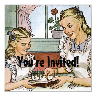 Cumpleaños retro de los chicas invitacion personal