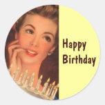 Cumpleaños retro del ama de casa etiqueta redonda