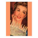 Cumpleaños retro del ama de casa postales