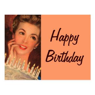 Cumpleaños retro del ama de casa tarjeta postal