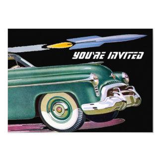 """Cumpleaños retro del coche y de Rocket Invitación 5"""" X 7"""""""
