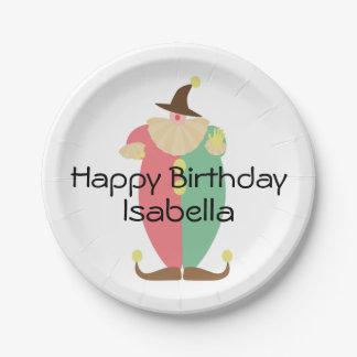 Cumpleaños retro del payaso de circo platos de papel