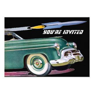 Cumpleaños retro V2 del coche y de Rocket Invitacion Personalizada