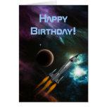 Cumpleaños Rocketship Tarjeta