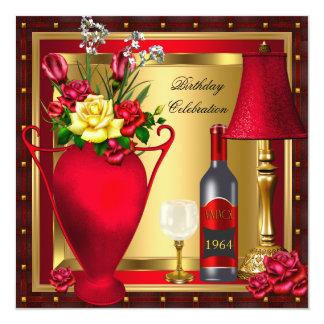 """Cumpleaños rojo 2 del cristal de botellas de vino invitación 5.25"""" x 5.25"""""""