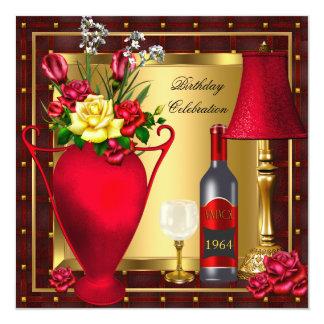 """Cumpleaños rojo 3 del cristal de botellas de vino invitación 5.25"""" x 5.25"""""""