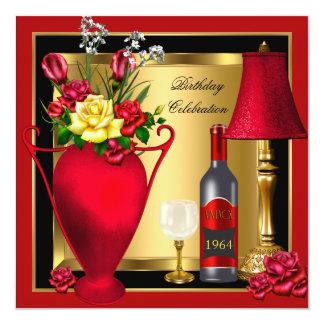 """Cumpleaños rojo 4 del cristal de botellas de vino invitación 5.25"""" x 5.25"""""""